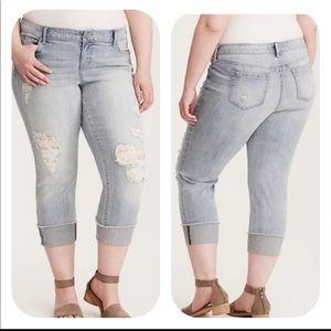 Torrid Crop Boyfriend Lace Underlay Jeans